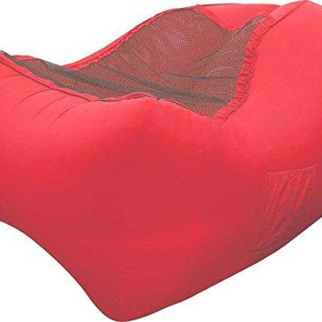 CleverMade QuikFill Outdoor AirChair: Lightweight Recliner Style Inflatable Lounge Chair, Coral