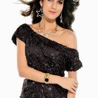 Black Off Shoulder Top with Sequins Overly