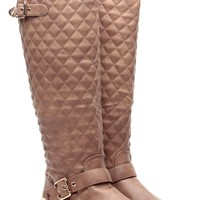 Khaki Faux Leather Knee High Quilted Buckle Up Boots @ Cicihot Boots Catalog:women's winter boots,leather thigh high boots,black platform knee high boots,over the knee boots,Go Go boots,cowgirl boots,gladiator boots,womens dress boots,skirt boots.