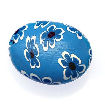 Unique Design Handmade Flower Fimo Beads 26x22x13mm Oval Blue Fimo Polymer Clay Loose Beads For Jewelry Making Accessories