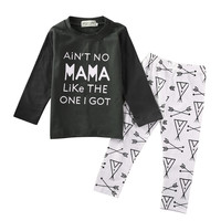 Toddler Autumn Print Clothes Casual Baby Boy Letter T-shirt Baby Girl Arrows Pants Leggings Kids Cartoon Outfits