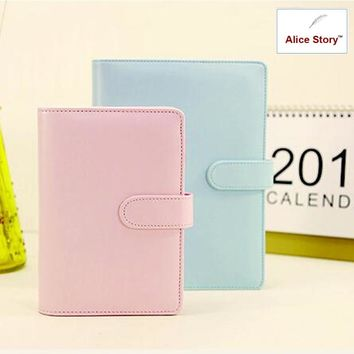 2017 Macaron faux leather spiral notebook office personal diary/week planner/agenda organizer Cute ring stationery binder A6