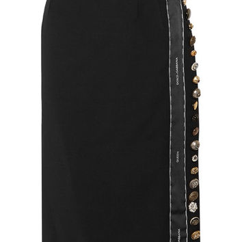 Dolce & Gabbana - Embellished wool-blend midi skirt