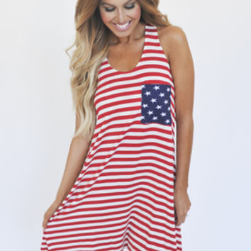 Stars & Stripes Tank Dress- Red