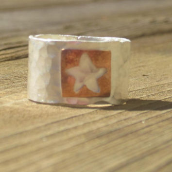 Hammered Silver Ring with Copper Star, Mixed Metal Jewelry, Wide Silver Ring, Hammered Ring