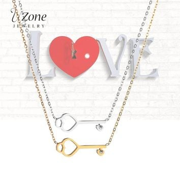 UZone Charm Stainless Steel Key Necklace Pendant Love Heart Cubic Zircon O Chain Necklace For Women Collier Femme