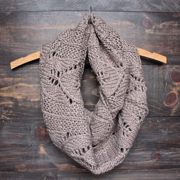 knit leaf pattern infinity scarf in mocha brown