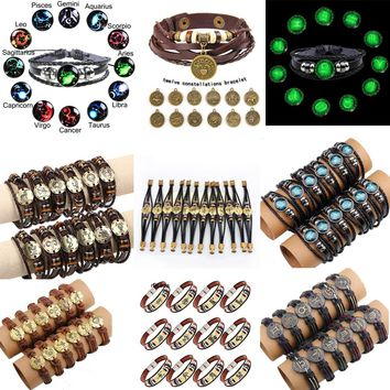 WarBLade 12pcs/set 12 Constellations Bracelets Bangles Fashion Punk Men Leather Bracelet Vintage Zodiac Signs Women Wristband