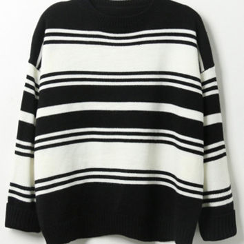 Color Block Stripe Ribbed  Loose Sweater