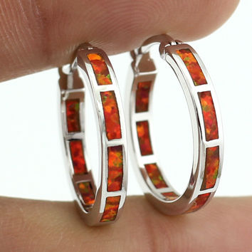 Orange Opal Hoop Earrings