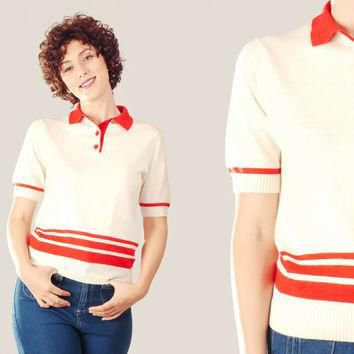 70s Cream and Red Polo Shirt / Stripes Two Toned Knit Top / Retro Preppy Sporty Medium