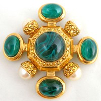 Large Vintage ST JOHN Green Gripoix Art Glass & Faux Pearl Maltese Cross Pin Enhancer