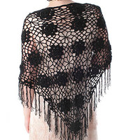 Black Triangle Crochet Fringed Shawl Wrap