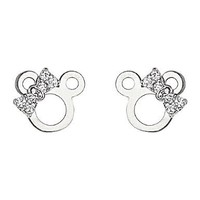 14k White Gold Plated Sterling Silver Mouse Ribbon CZ Children Stud Earrings with Screw-back