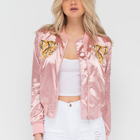 Hear Us Roar Tiger Satin Bomber Jacket