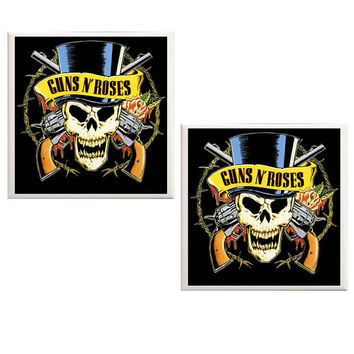 Guns and Roses Coasters, ceramic tile coasters, Rock music, Guns and Roses, Bands, Axl Rose, Slash, music, man cave coasters, home decor