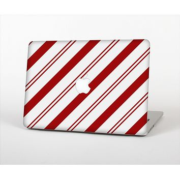 The Red and White Slanted Vector Stripes Skin Set for the Apple MacBook Pro 15""