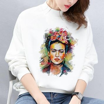 Mexico Artist Frida Kahlo Printed Hoodies Womens Clothing Sweatshirt White Tops Feminist Pullover Clothes Vintage Moletom Tumblr