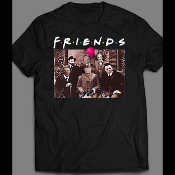 HORROR MOVIE SERIAL KILLERS MYERS, PENNYWISE, FREDDY, JASON, & LEATHERFACE FRIENDS PARODY HALLOWEEN T-SHIRT