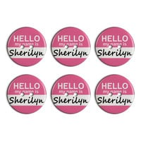 Sherilyn Hello My Name Is Plastic Resin Button Set of 6