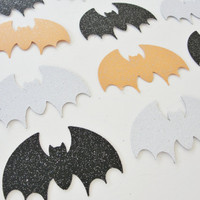 Halloween Bat Cutouts, Black White Orange Glitter Bats, Paper Bat Cutouts, Purple Halloween Decoration Tag Embellishment, Set of 12