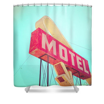 Vintage Motel Sign Polyester Fabric Shower Curtain