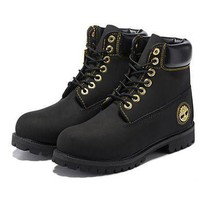 Timberland Men Women 6 Inch Premium Boot Black And Gold Metal Logo - Beauty Ticks