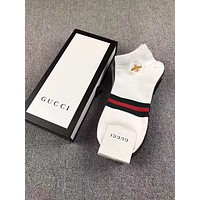 "Hot Sale ""GUCCI"" Popular Stripe Bee Embroidery Pure Cotton Breathable Sport Socks - Boxed I-RQZ"