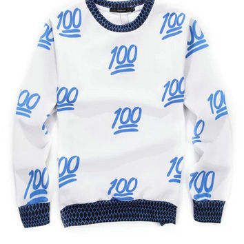 Blue 3D 100 Emoji Print Long Sleeve Sweatshirt