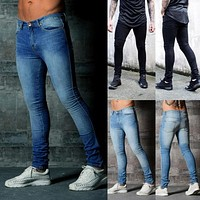 2018 New Fashion Casual Jeans Men's Ripped Skinny Biker Destroyed Frayed Slim Fit Stretch Denim Pencil Pants Plus Size S-2XL Hot