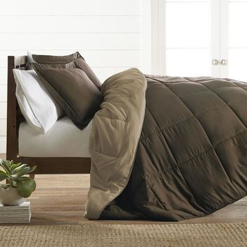 Queen Hypoallergenic Down Alternative Reversible Comforter Set - Taupe - CASE OF 9