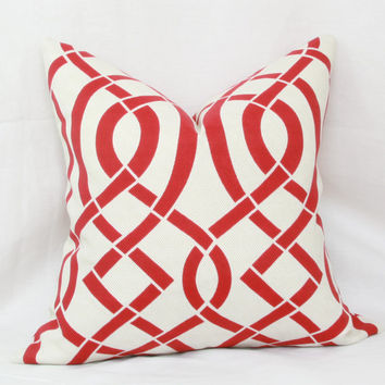 "Red & ivory trellis indoor/outdoor decorative throw pillow cover. 18"" x 18"" toss pillow."