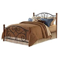Full Size Metal Bed with Sturdy Wood Posts in Black Walnut Finish