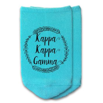 Kappa Kappa Gamma - Sorority Name with Wreath No-Show Socks