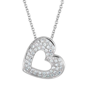 1/4 Cttw Diamond Heart Necklace in 14k White Gold, 18 Inch