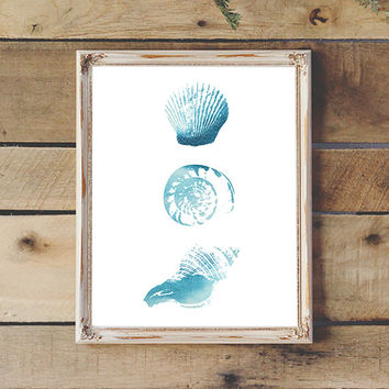 3 Watercolor Sea Shells Coastal Art Printable Sea Life Wall Art Beach Decor Instant Download Aqua Shell Print 11x14 8x10 Watercolor Painting