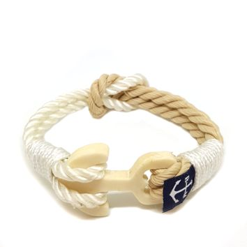Hand Carved Bone Anchor Reef Knot Bracelet by Bran Marion