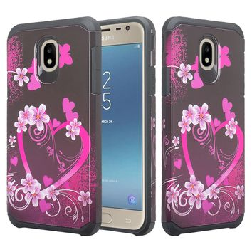 Samsung Galaxy J7 V 2nd Gen, J7 2018, J7 Star, J7 Refine, J7 Aero, J7 Aura, J7 Eon, J7 Pro SM-J730GM/DS, J7 Top, J7 Crown Case, Slim Hybrid Dual Layer [Shock Resistant] Case Cover for Samsung Galaxy J7 2018 - Heart Butterflies