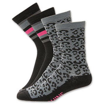 Women's Sof Sole Leopard Shine Crew Socks