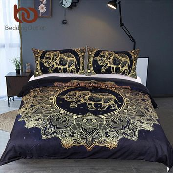 BeddingOutlet Mandala Elephant Duvet Cover With Pillowcase Black Golden Bedding Set Queen Size Boho Bed Set Quilt Cover