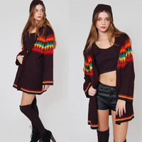 Vintage 70s Hippie Cardigan RAINBOW Tribal Print BELL SLEEVE Hoodie Slouchy Sweater Black Jumper