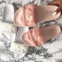 """PUMA"" Rihanna Fenty Leadcat Fur Slipper Shoes pink"