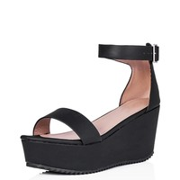 SPYLOVEBUY GOLDCOAST Wedge Heel Cleated Sole Flatform Platform Sandal Pumps