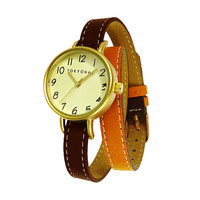 TOKYObay Dopio Brown and Tan Full Grain Leather Double Wrap Watch