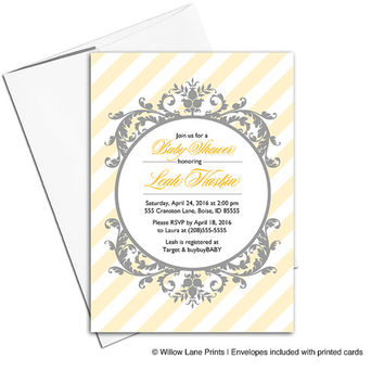 yellow and gray baby shower invites for neutral baby shower | custom yellow striped invitations | modern printable or printed - WLP00774