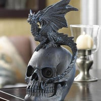 Commanding Mythical Winged Dragon On Skull Figurine