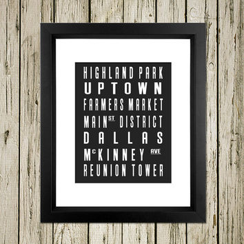 Dallas City Subway Sign Printable Instant Download Print Poster City Name Art Typography Home Decor  Wall Art S019