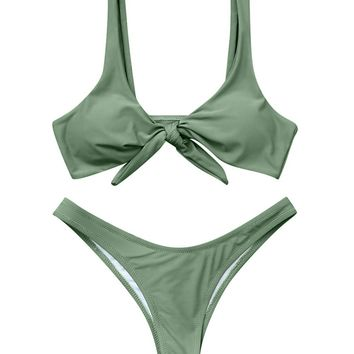 RXRXCOCO Front Tie Knot Bikini Top High Waist Bottom Two Piece Swimsuits for Women (S, Olive Green-2)