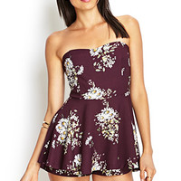 FOREVER 21 Strapless Floral Skort Dress Plum/Cream