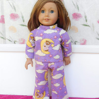 Purple Flannel Doll Pajamas, Sleepy Bears on the Moon, Moon Bear Doll Pyjamas, Winter Doll Clothes, fits 18 Inch Dolls such as American Girl